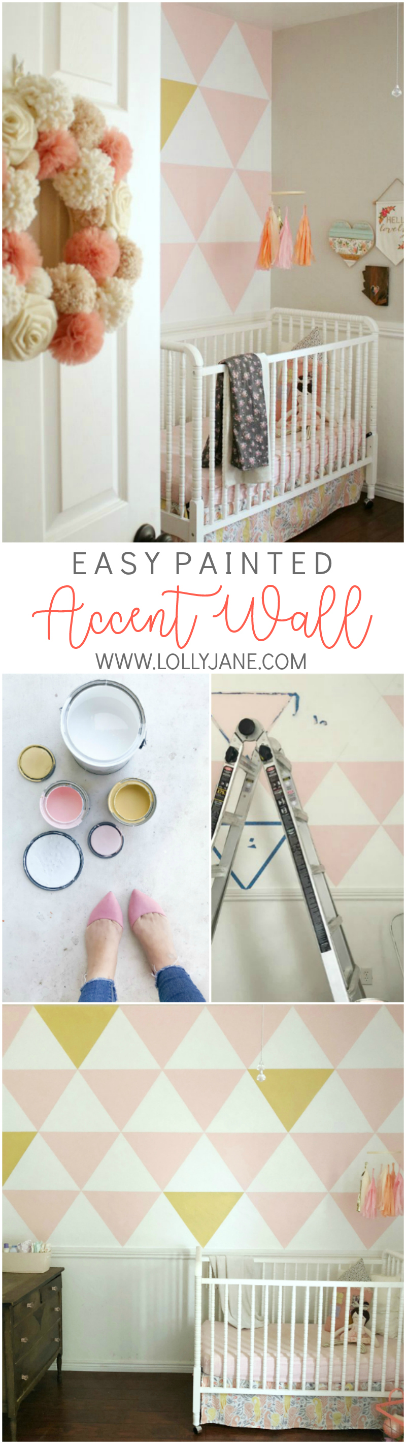 Easy painted accent wall tutorial | Love this triangle accent wall, such a pretty nursery wall! Follow this easy to replicate painted accent wall to create a focal wall in your own home!