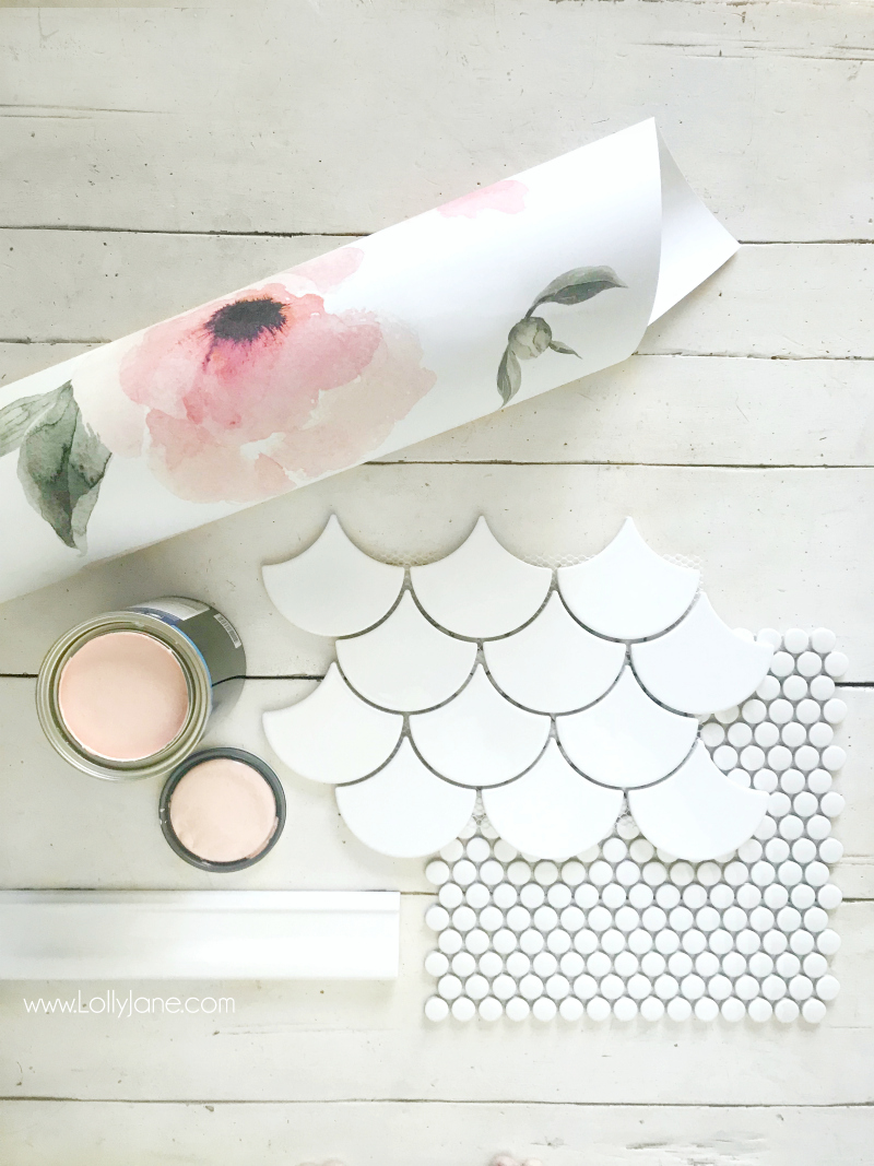 How cute is this farmhouse mood board!? Loving this fan tile and penny tile flooring with the floral wallpaper and pink vanity, such a cute bathroom remodel!