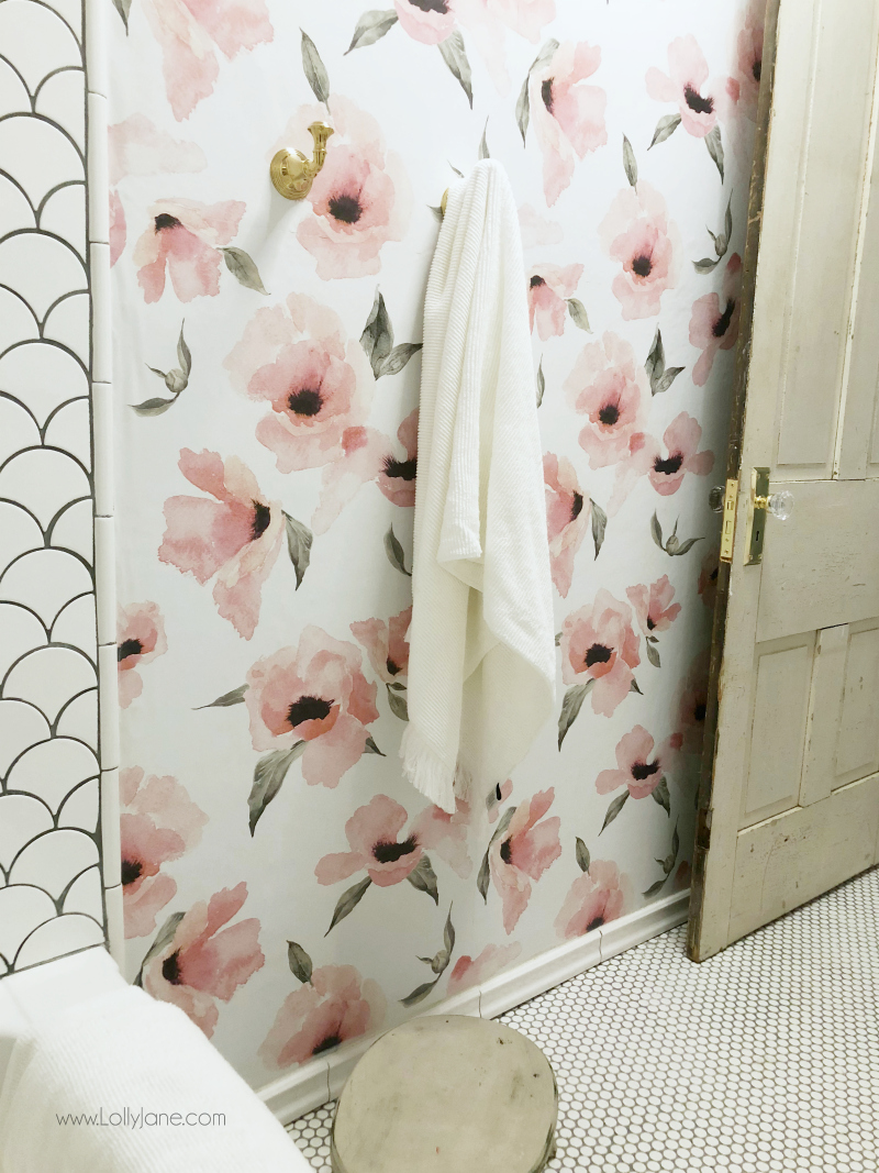 Floral wallpaper bathroom decor, love this poppy peel and stick wallpaper from Wayfair, so pretty!! Adore this farmhouse glam bathroom remodel!