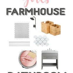 One Room Challenge Week 1: Girls Farmhouse Bathroom Inspiration