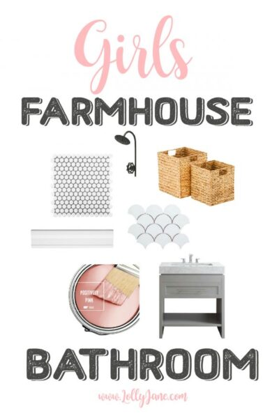 Girls Farmhouse Bathroom Decor Inspiration. Click here to see the before of this soon-to-be glam girls only farmhouse bathroom!