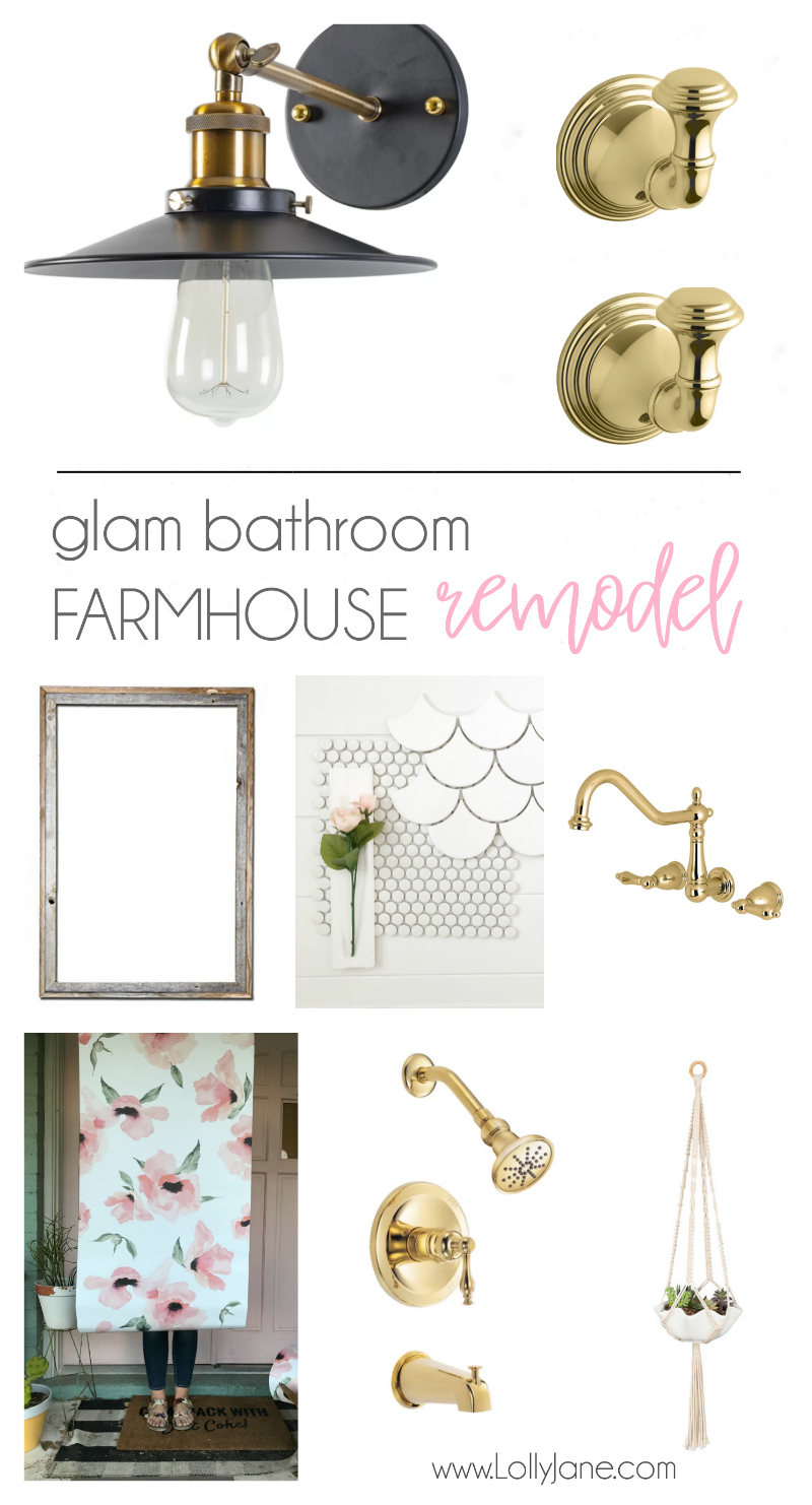 Glam Farmhouse Bathroom Remodel mood board | How to gut and remodel a bathroom without spending a fortune! Love this farmhouse bathroom renovation!