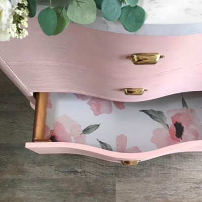 Pink Vanity + Floral Wallpaper Bathroom Decor