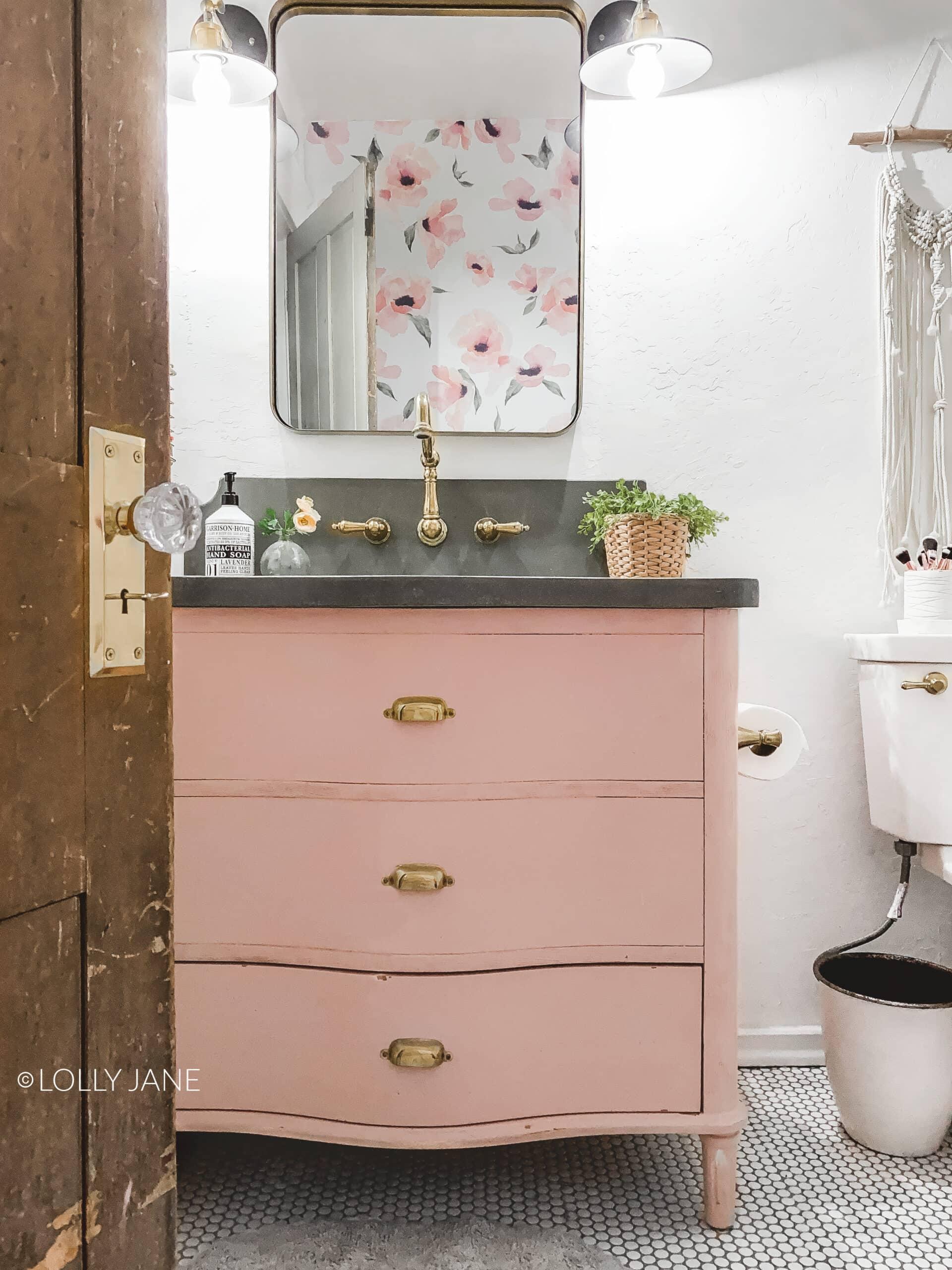 DIY Pink Vanity Makeover, so cute in this modern farmhouse bathroom remodel!