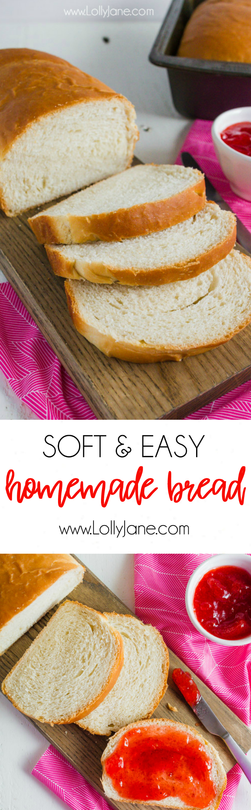 This basic homemade bread recipe is so good! Soft and easy white bread recipe, love it! Just like Nana used to make, this is our go-to homemade bread recipe!