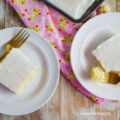 Love this white Texas almond sheetcake recipe! This is an easy to make almond cake with a light almond frosting, so yummy! Huge crowd pleaser dessert! Easy dessert idea, perfect for Sunday dinner!