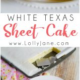 Easy white Texas sheet cake recipe! Love this easy sheet cake dessert, so yummy! A family favorite dessert!