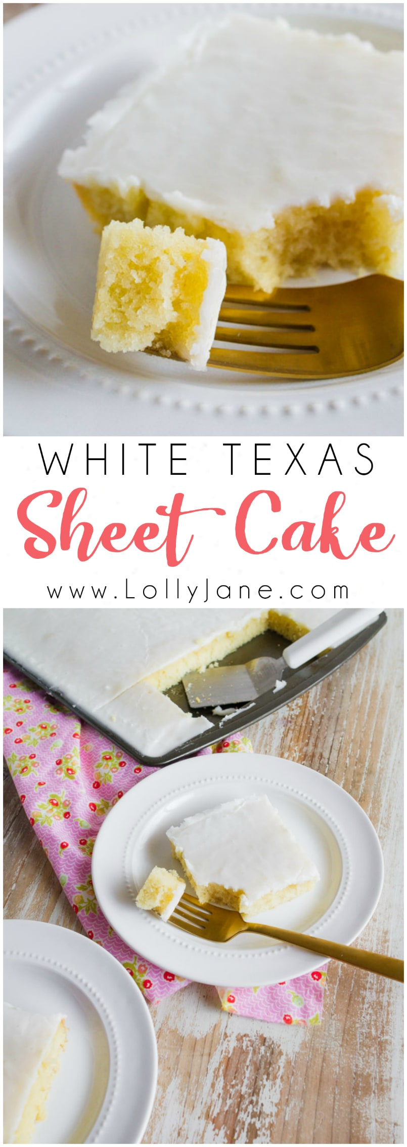 Easy white Texas sheet cake recipe! Love this easy sheet cake dessert, so yummy! A family favorite dessert!