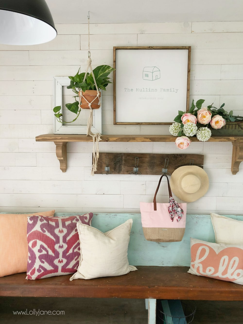 Gorgeous DIY Farmhouse Shelves... perfect to spruce up an entryway or foyer!
