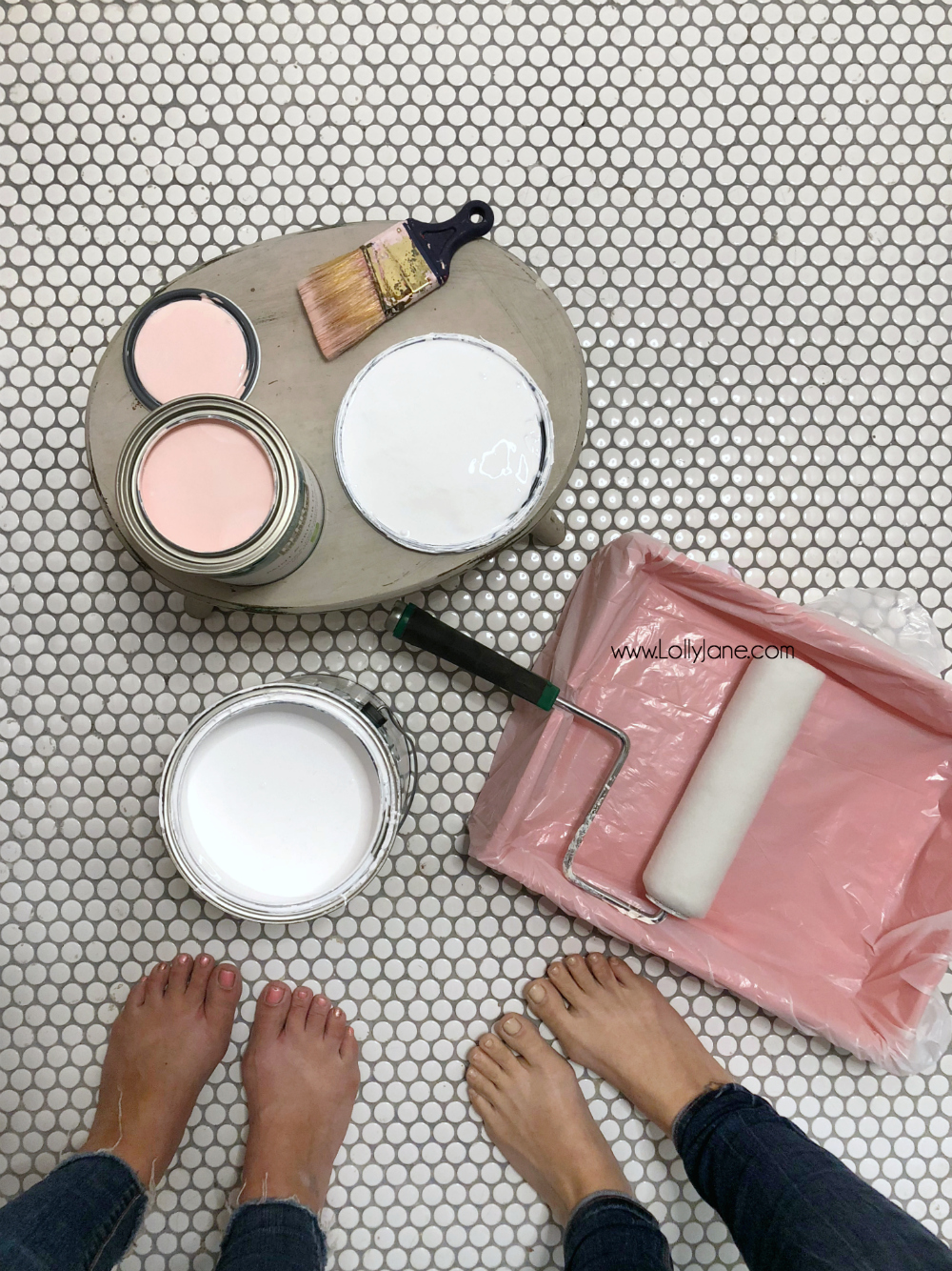 best paint colors for a small bathroom - How we painted our girly glam farmhouse bathroom. Such classic colors, love the final look! Paint + Primer in one for the win, love us some Behr paint!