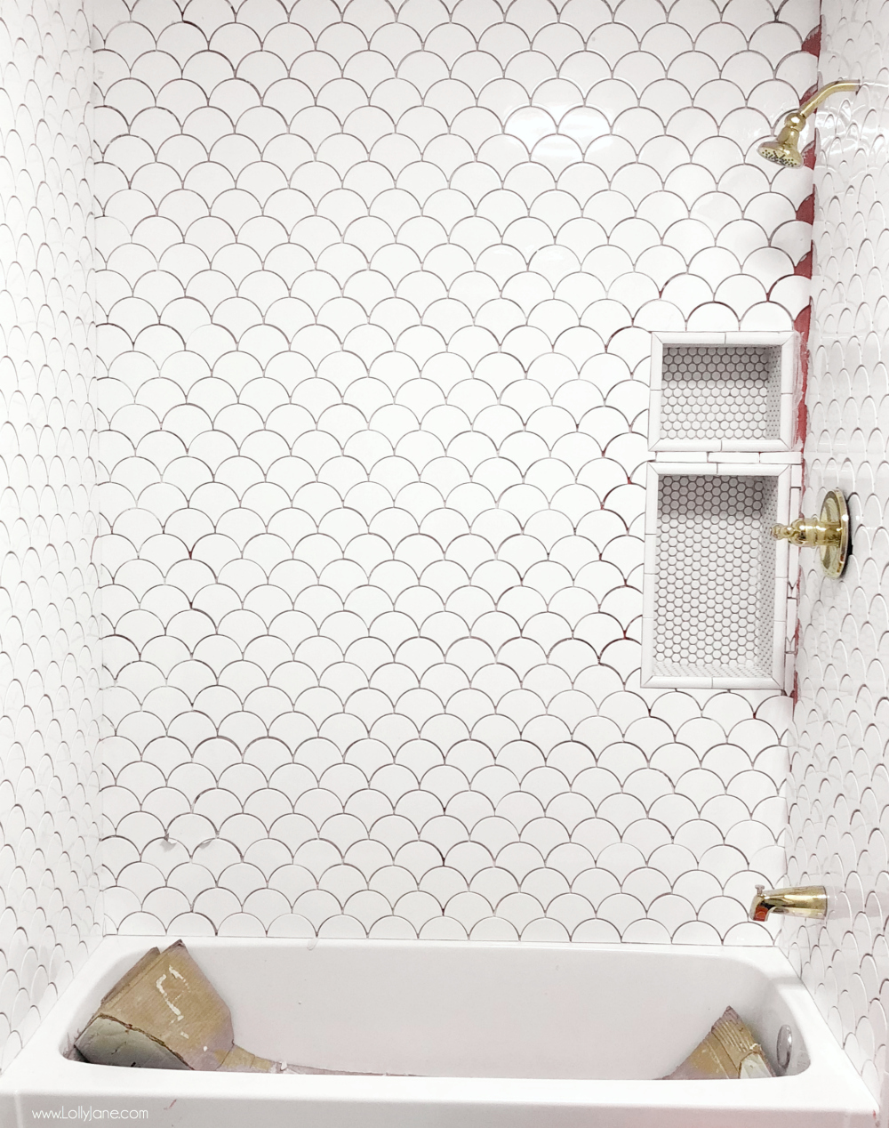 Easy DIY Fan Tile, love the scallop fish scale look! Click to see these useful tips when renovating a bathroom!