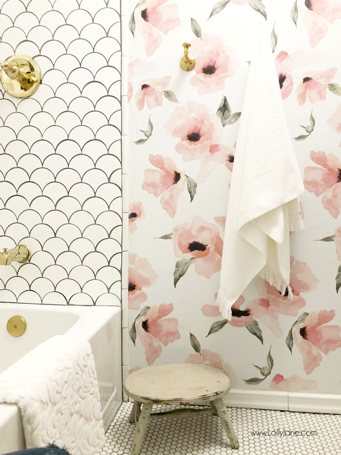 Glam farmhouse before after reveal!! You've got to see this fan tile and floral wallpaper, so pretty!