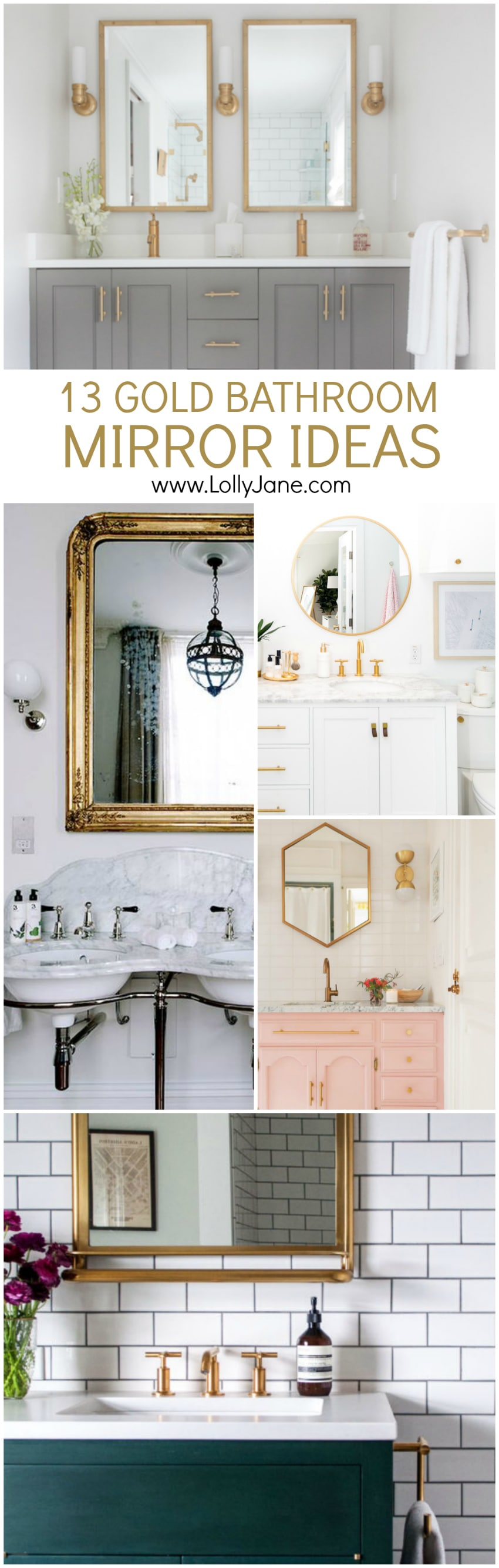 13 gold bathroom mirror ideas
