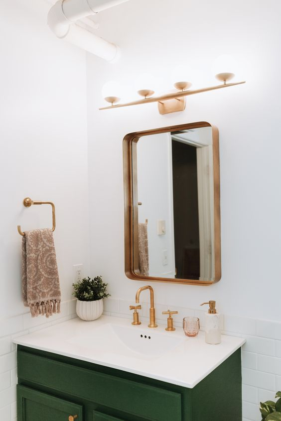 adore this gold mirror with dark green vanity in this pretty modern bathroom remodel such - Bathroom Mirror Ideas