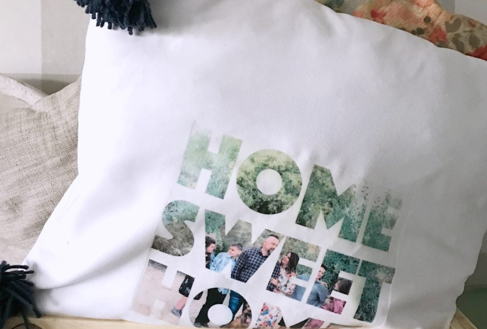 diy photo text pillow