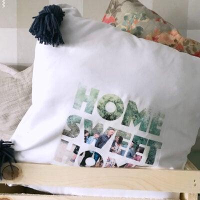 diy photo text pillow
