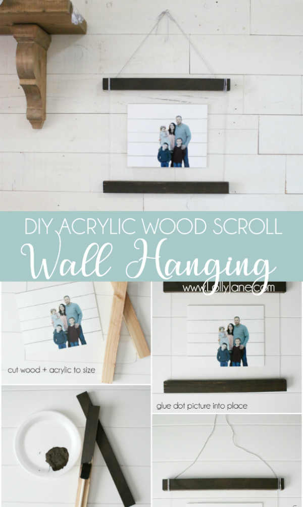 Holy Smokes!! This acrylic wall hanging tutorial is so easy!! Would look so cute in a grouping to display family pictures!! Love this easy to follow diy wood scroll wall hanging idea!! @adobe #walldecor #ad #familypictures #gallerywall #homedecor