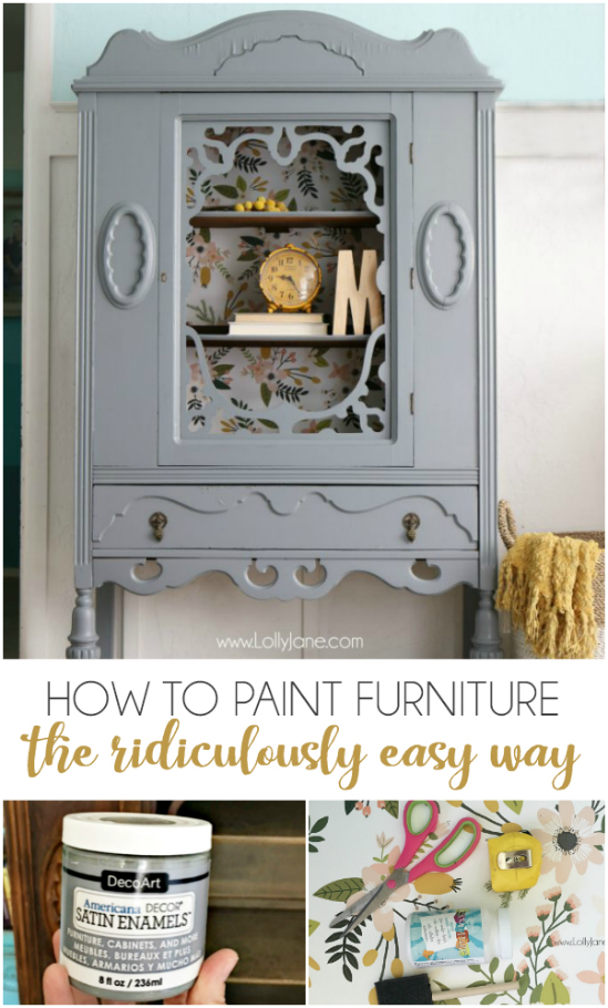 DIY Painted Hutch Makeover - Check Out How To Paint Furniture The Ridiculously Easy Way: This Easy DIY Painted Furniture Project Before And After Looks Amazing! You'll Love This Gorgeous Gray Hutch With Floral Paper Makeover. Such A Dramatic Before After Furniture Makeover Using Less Than A Jar Of Paint And Some Wallpaper. #diy #paintedfurniture #makeover #furniture #homedecor