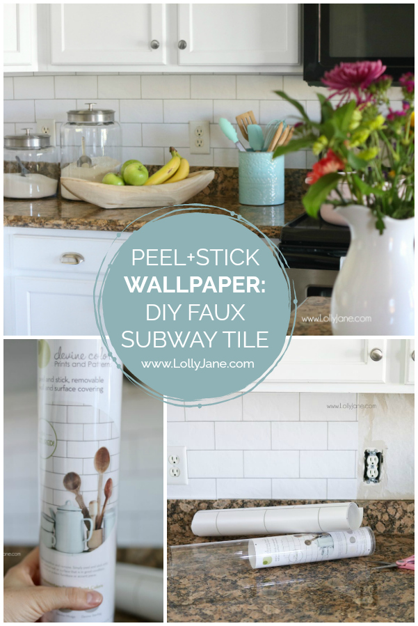 Can you believe this subway tile is actually peel and stick wallpaper!? It looks so real! Love this easy to apply wallpaper for a quick kitchen hack! An easy way to upgrade your kitchen using faux subway tile! Looks like the real thing!