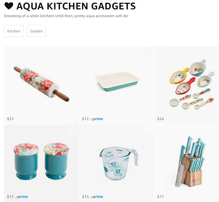 Love using Amazon list to create your favorite shopping finds in one place. For example, we love fun kitchen goodies so we created an aqua kitchen accessories list, such a fun Amazon collection! #amazontips #amazonstore #amazonlists #amazoninfluencer