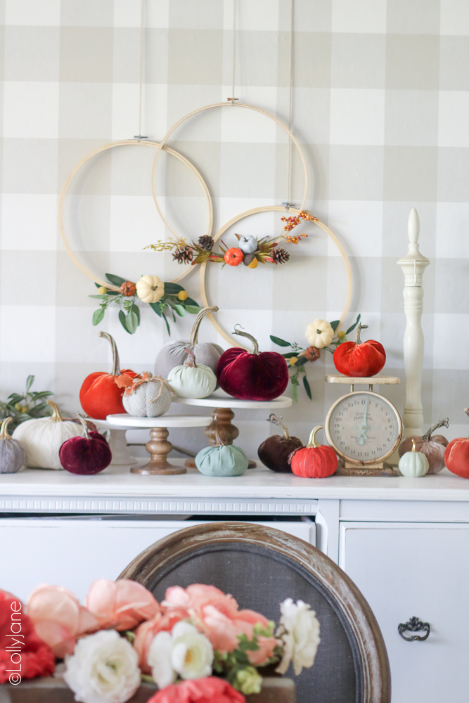Easiest Fall Decor DIY Ever! Just add a few fall embellishments to an embroidery hoop and voila! Done and done! #fallwreaths #diyfallwreaths #fallwreathideas #falldoorwreaths #diy #falldecor #homedecor #fallhomedecor