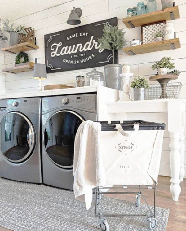Love this farmhouse laundry room rug!! What a pretty soft farmhouse rug, these affordable farmhouse rugs look so cute layered! #farmhouserug #laundryroom #farmhousedecor #farmhouselaundryroom #farmhousecharm