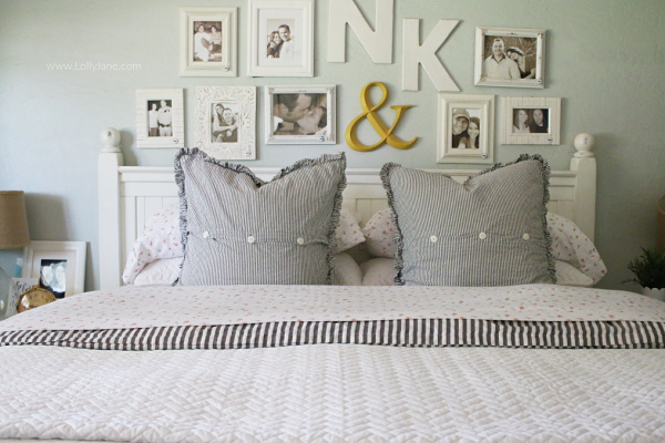This is officially the ultimate farmhouse master bedroom! Each and every detail of this makeover is truly amazing and so full of farmhouse style! Learn how to style farmhouse master bedding with cozy linens and a herringbone coverlet!
