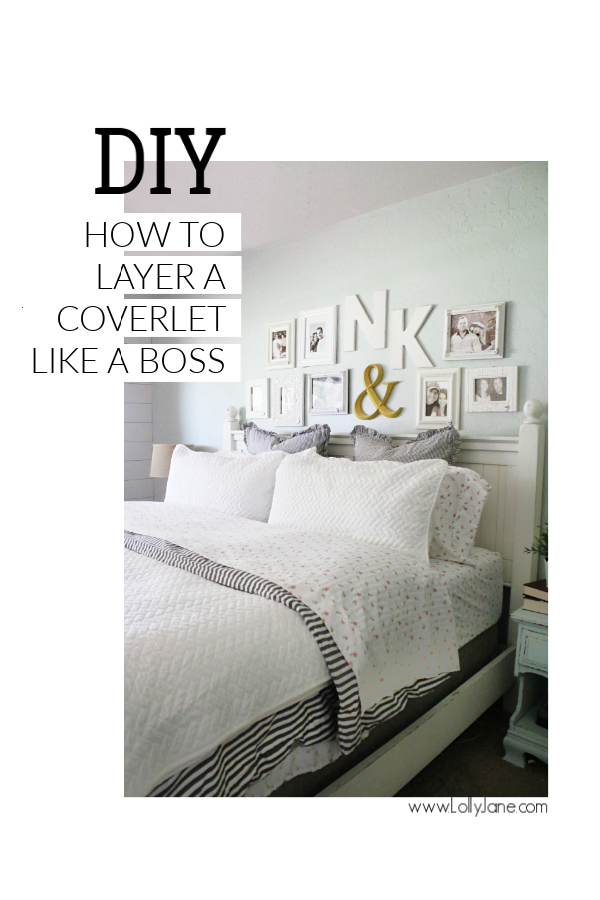 How to layer a coverlet like a boss! Love this farmhouse bedding styling, such a comfortable master bedroom with cozy bedding. How to use a style a coverlet over a duvet, so pretty!