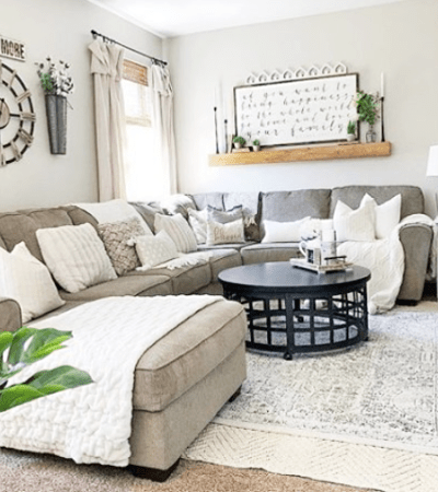 Layered farmhouse rug ideas. Layering rugs can make a room feel cozy and add depth and texture. Love these farmhouse rug ideas for super affordable rugs! farmhouserug #farmhouserugs #rugs #juterug #patternedrug #farmhousearearug