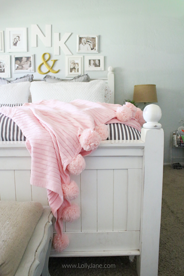 Adore this cozy master bedding! Learn how layering a duvet with a coverlet creates pretty farmhouse bedding. Love this soft master bedding!