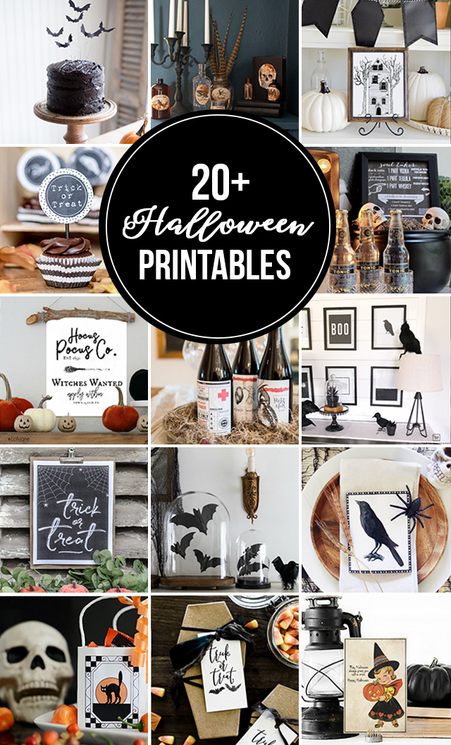 20+ Halloween Printables, all free for easy download! Spruce up your spooky spaces in no time and for freee!