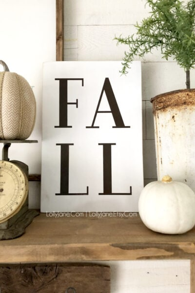 Fall wood sign, love this handpainted fall decor from Lolly Jane! #falldecor #fallsign #manteldecor #fallmantel #etsy #etsyshop #woodsign