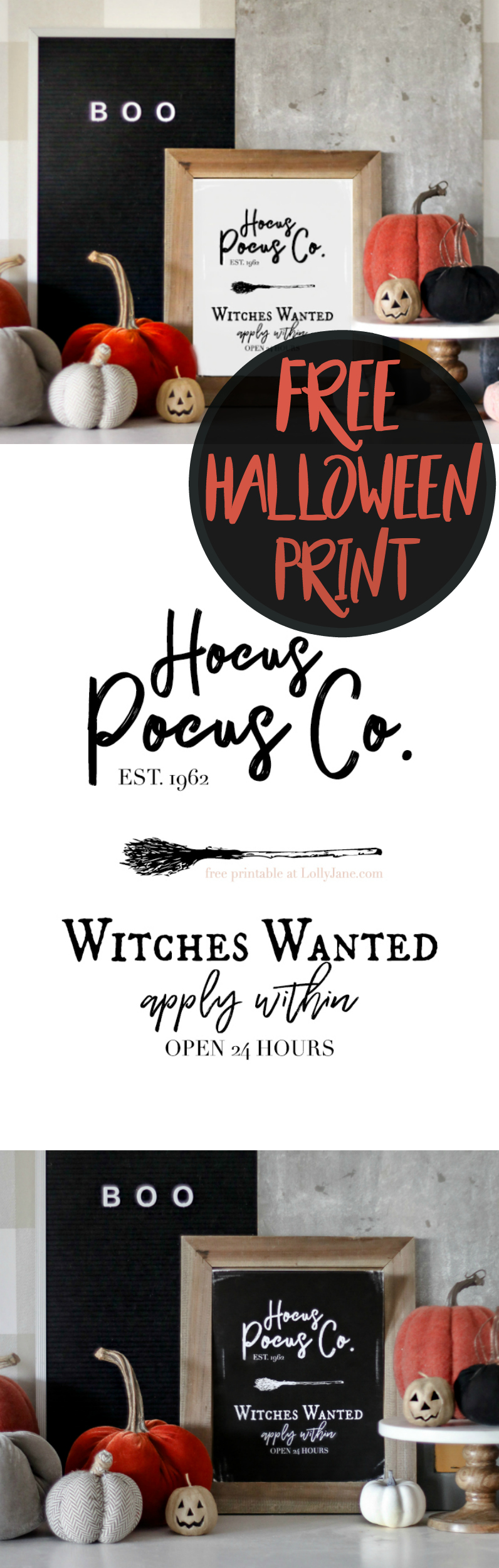 "Free Printable Halloween Art! So cute, simply print + display this ""Hocus Pocus"" print to instantly spruce up your space!"
