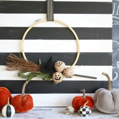 Halloween Embroidery Hoop Wreath