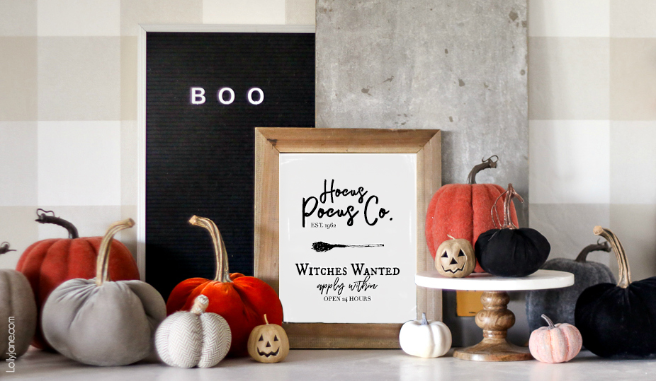 "Cutest ""Hocus Pocus"" printable art... and FREE! Print + display to add a pop of spook to your Halloween decor or party!"