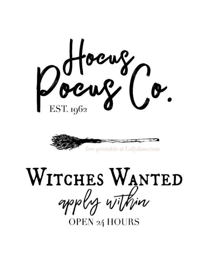 Free Hocus Pocus Printable Halloween Art... print off to spruce up your spooky space, make a Halloween card, or turn into a sign!