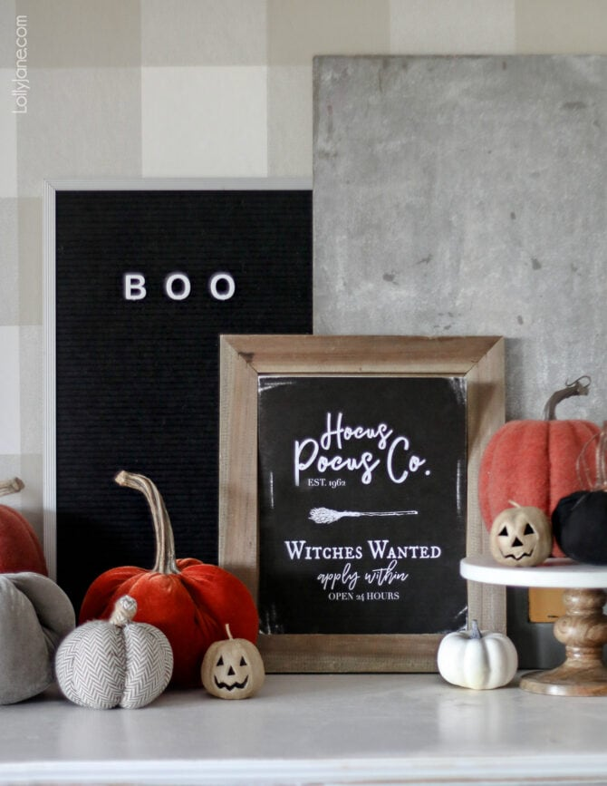 "FREE Printable Halloween Art! Print off this ""Hocus Pocus Co."" art and display to spruce up your spooky space! #Halloweenprintables #Halloween #freeprintables #Halloweendecor #Halloweenmantel"