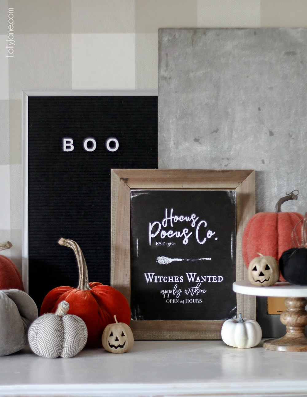 "FREE Printable Halloween Art! Print off this ""Hocus Pocus Co."" art and display to spruce up your spooky space!"