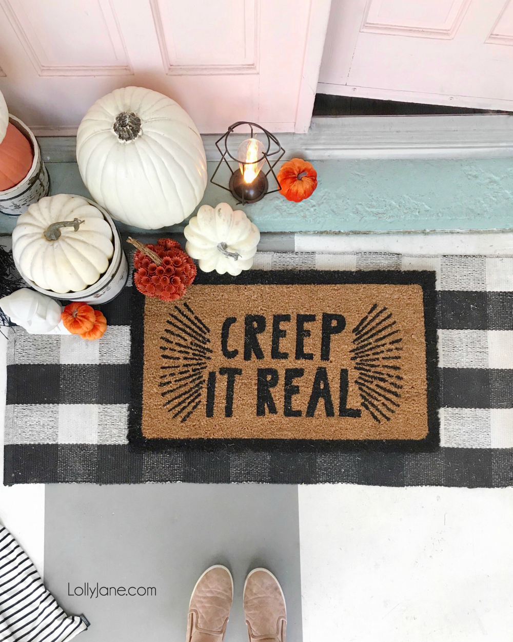 """CREEP IT REAL!"" Best Halloween doormat ever! Pair with a pile of fake pumpkins + lantern to bring Halloween to life on your front porch. After all, it's the first space to welcome guests!"