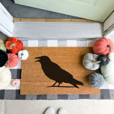 diy stenciled halloween doormat