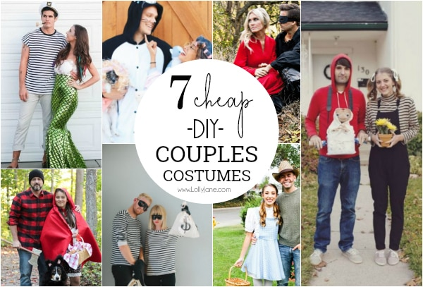 Are you looking for creative couples Halloween costume ideas? Loving these 7 easy to put together couples costumes! They are guaranteed to win you first place at the couple Halloween party! #couplescostumes #adulthalloweenparty #couplecostumes