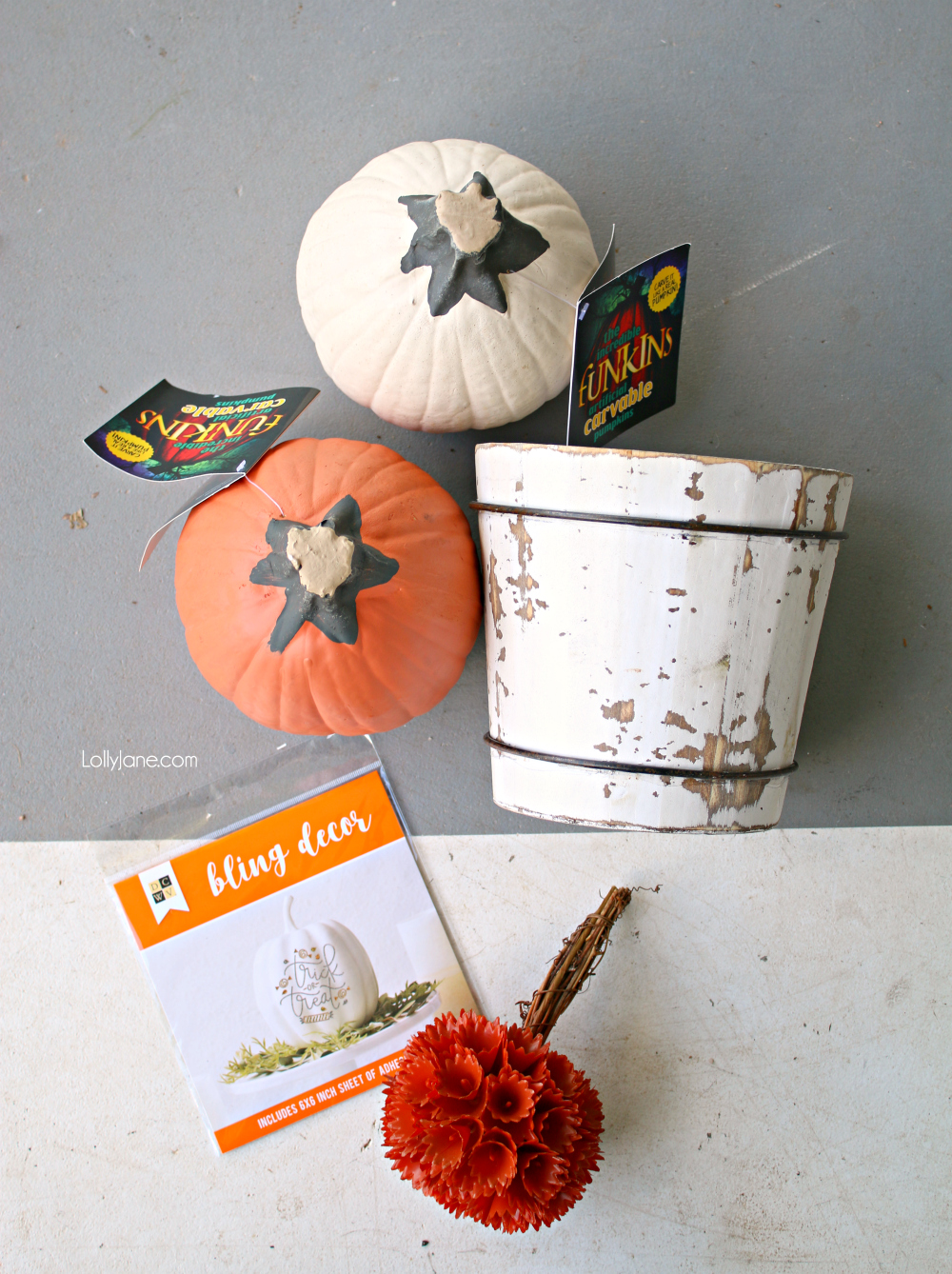 Grab a handful of supplies to make the EASIEST ever DIY Pumpkin Topiary, perfect for fall or Halloween!