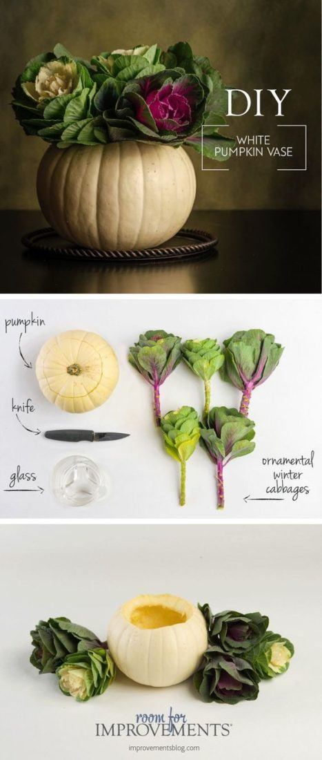 Get creative! Using a pumpkin as a vase makes an easy DIY Thanksgiving centerpiece! Just fill a pumpkin with fresh winter cabbages. Love this simple Thanksgiving decoration! #diythanksgivingdecor #thanksgivingdecorations #thanksgiving