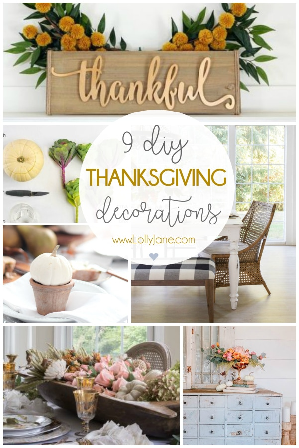 Are you hosting Thanksgiving dinner this year? You'll love our pretty Thanksgiving table decorations, Thanksgiving decor ideas AND some easy to make Thanksgiving DIY projects: so much to be thankful for! #diy #thanskgiving #thanksgivingdecor #thanksgivingdecorating