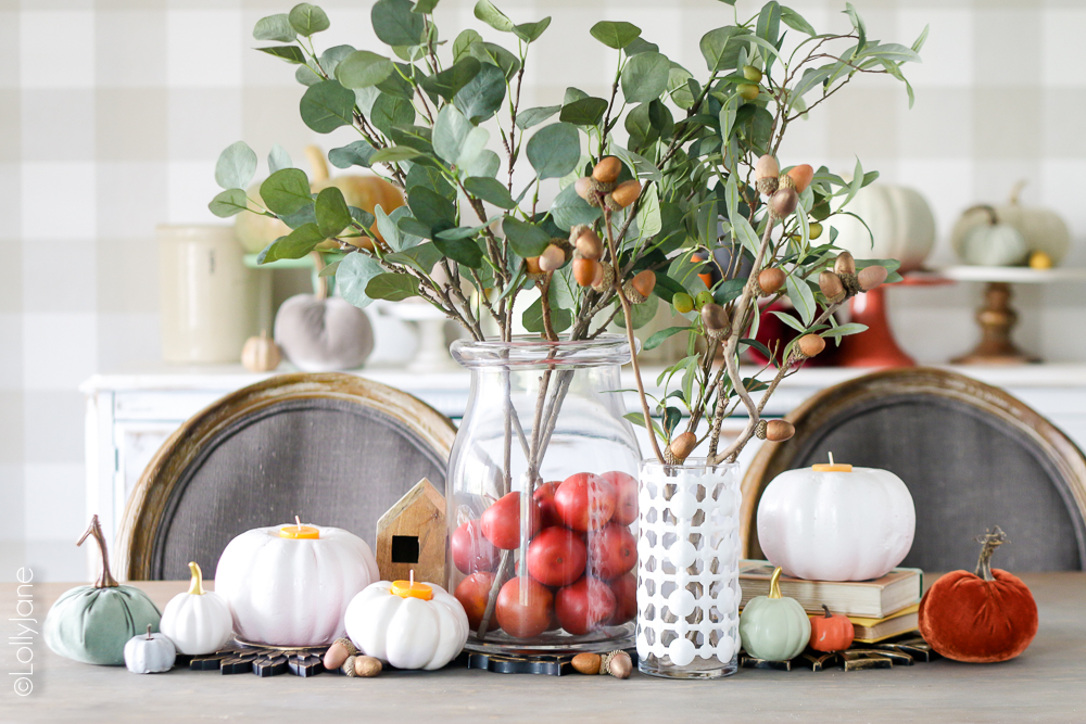 Love this beautiful fall tablescape... can't believe most of it is from the dollar store! CLICK to see the stunning before/afters! #dollarstorecrafts #falldecor #diy #crafts