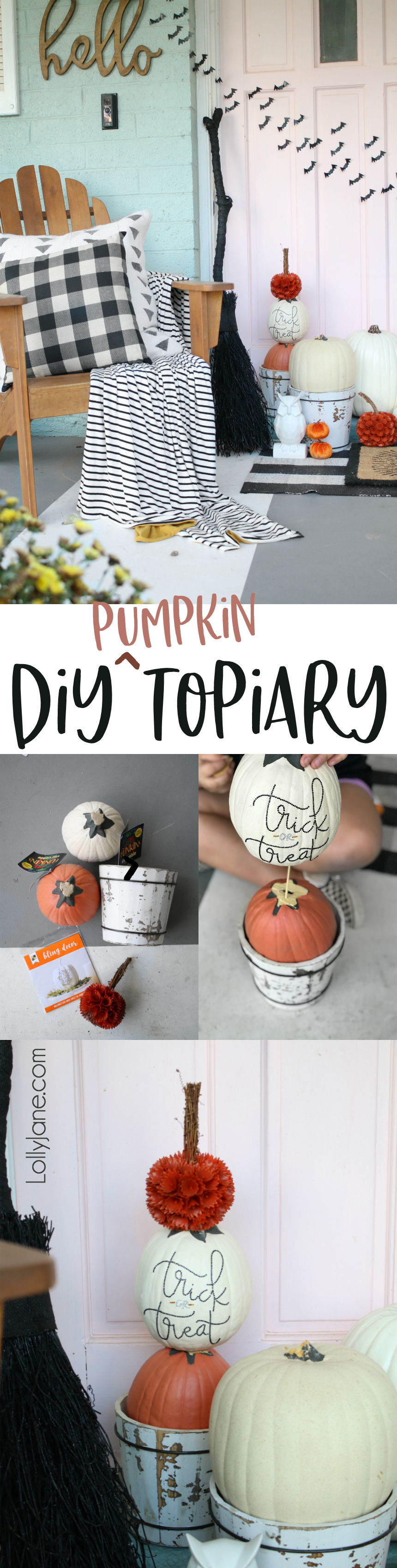 Easy DIY Pumpkin Topiary... and a kid-friendly project! Display on your porch to greet spooky visitors or turn around to simply greet your autumn guests!