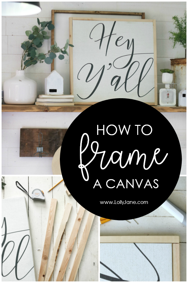 How to frame a canvas (with pictures!) the easy way! Learn how to frame a canvas board for just a couple bucks INCLUDING easy to use tools! No power saw required! #howto #diy #howtoframeacanvas #canvasdiy