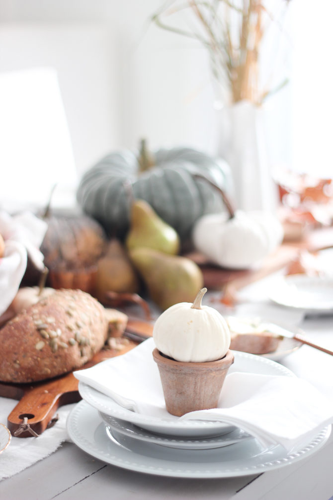 Tips for natural and neutral Thanksgiving decorations. Get the look of this gorgeous Thanksgiving tables setting by gathering pumpkins, gourds and white dishes. So pretty! #thanksgiving #thanskgivingtable #thanksgivingdecorations