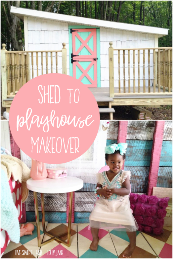 Have an old shed in the yard? Borrow these tips to turn it into every child's dream playhouse! Love this shed turned playhouse makeover, so cute! #sheshed #diyplayhouse #shedmakeover #playhouse #shedplayhouse