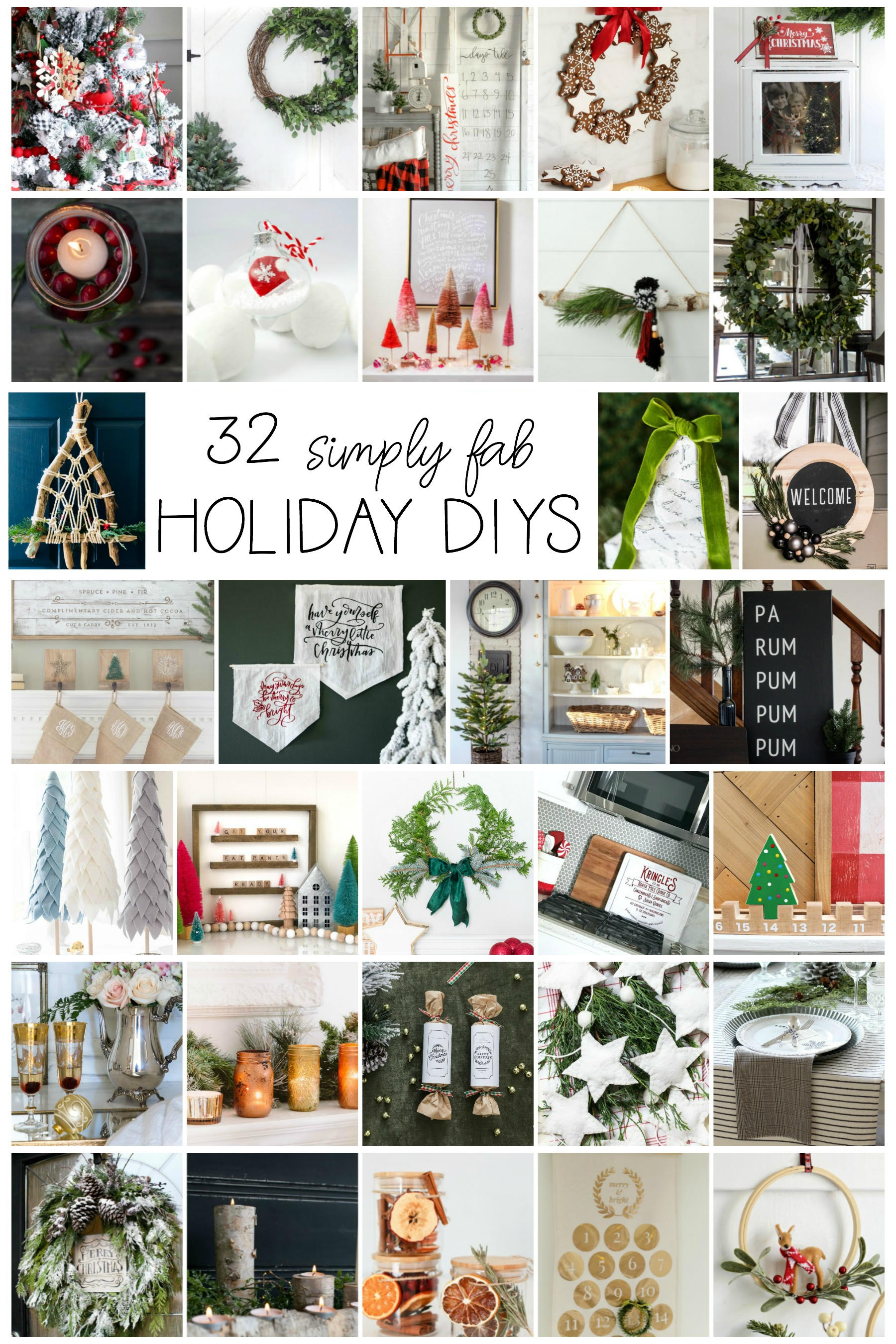 32 Simply Fab HOLIDAY DIY's to try this season! From home decor to crafts and EVERYTHING in between, you'll love this collection of truly FAB DIY's! #diy #holidaydiy #christmasdiy #christmasdecorations